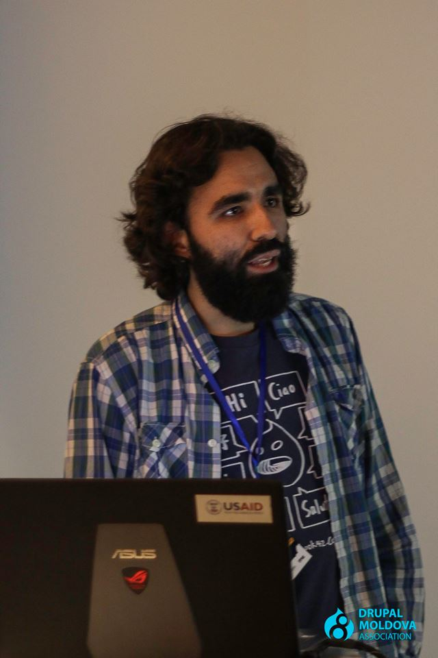 Giving a talk on composer